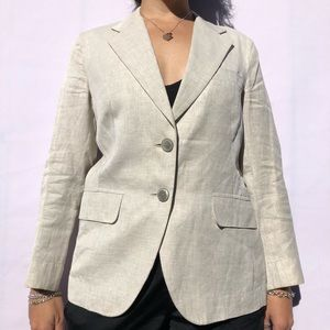 Max Mara SZ M Linen Blazer Jacket Off White / Grey